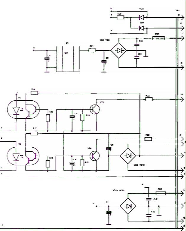 Рис. 3.9.  Принципиальная электрическая схема блока управления микроволновой печи.  СП-25. электроника.