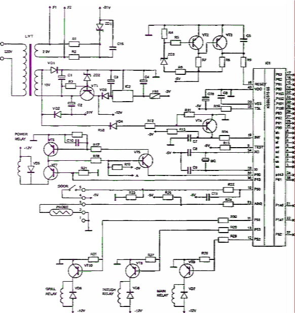 Рис. 3.38.  Принципиальная электрическая схема блока управления микроволновой печи М8145 Samsung.