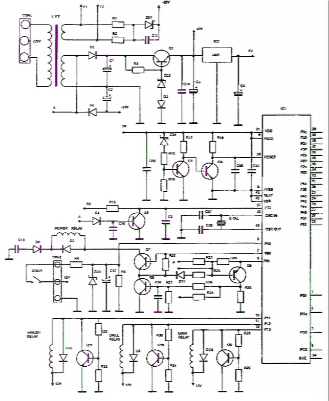 Принципиальная электрическая схема блока управления микроволновой печи М9245 Samsung.