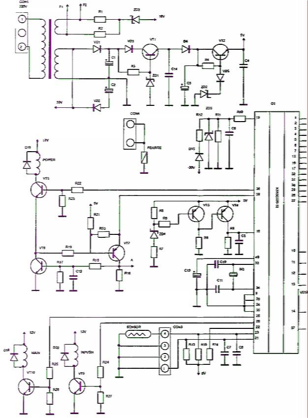 Рис. 3.42.  Принципиальная электрическая схема блока управления микроволновой печи МХ146 Samsung.