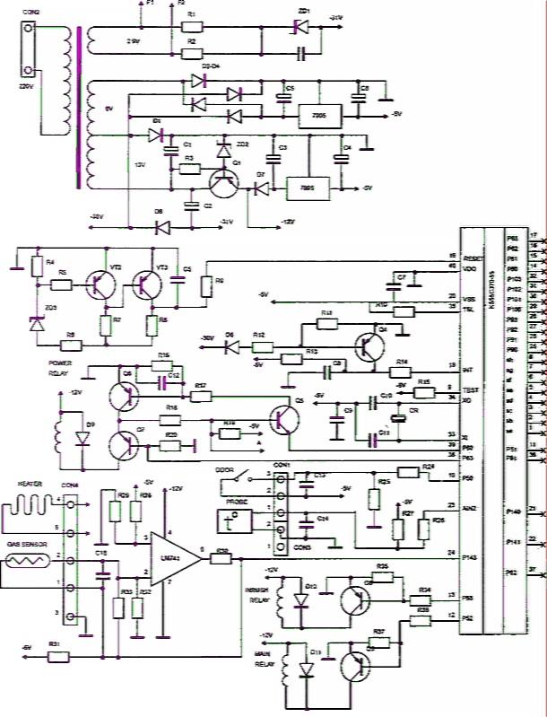 вот схема электронного модуля свч печи самсунг создается