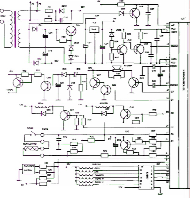 Принципиальная электрическая схема блока управления микроволновой печи RE1280 Samsung.