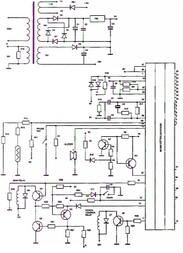 Принципиальная электрическая схема блока управления микроволновой печи RE727TC Samsung.