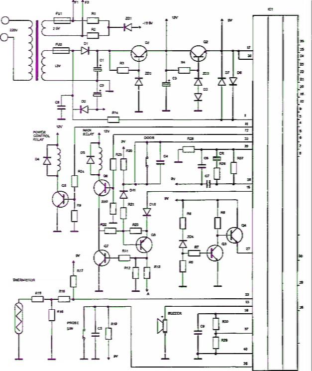 Рис. 3.57.  Принципиальная электрическая схема блока управления микроволновой печи RE890 Samsung.
